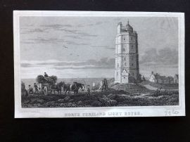 W. H. Ireland 1830 Antique Print. North Foreland Light House, Kent